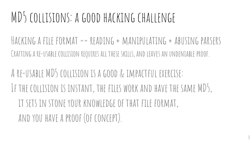 MD5 collisions: a good hacking challenge Hackin...