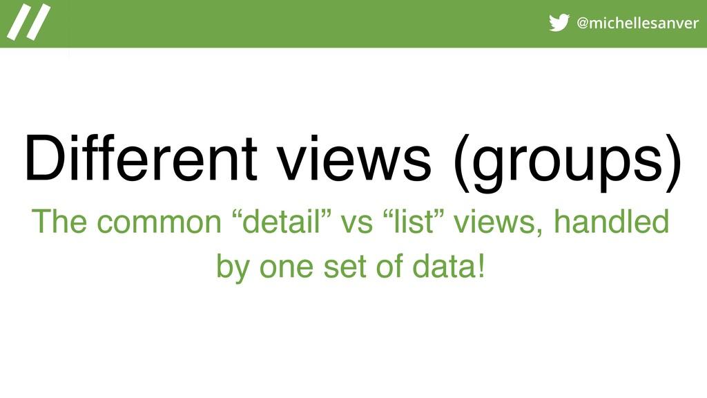 @michellesanver Different views (groups) The co...