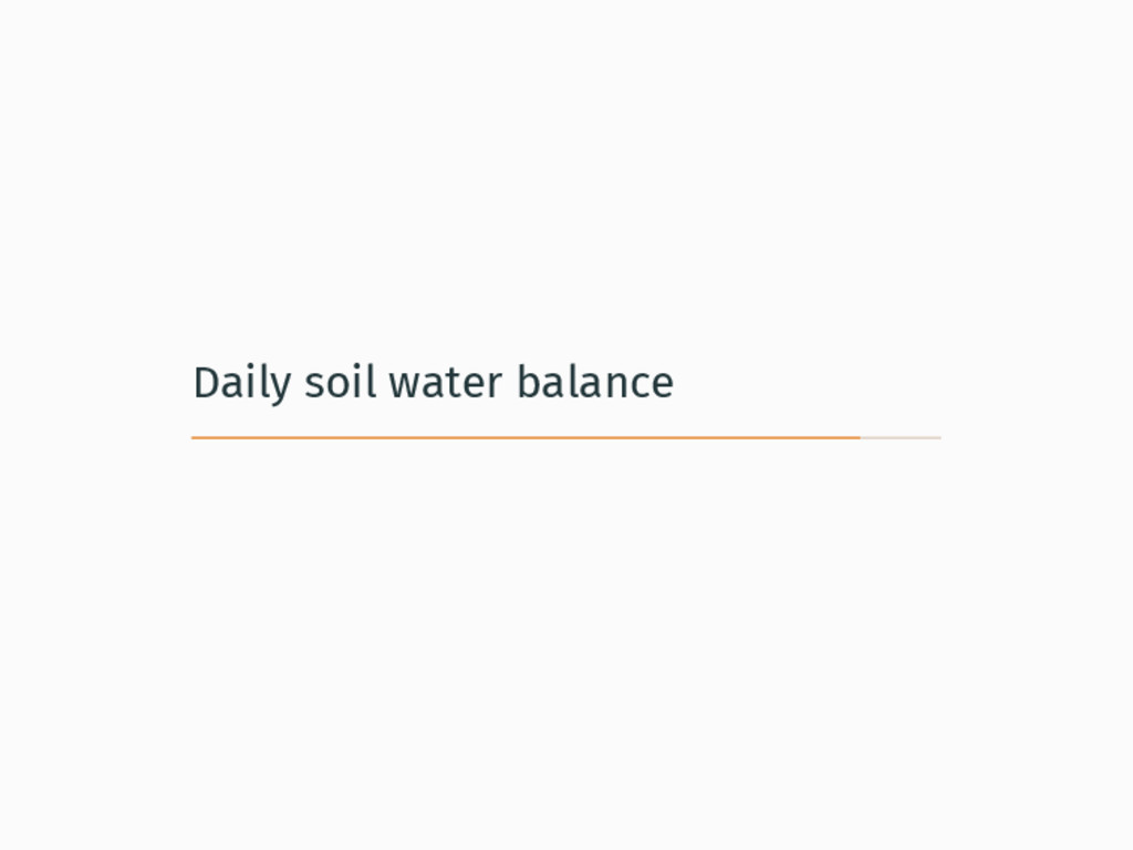 Daily soil water balance