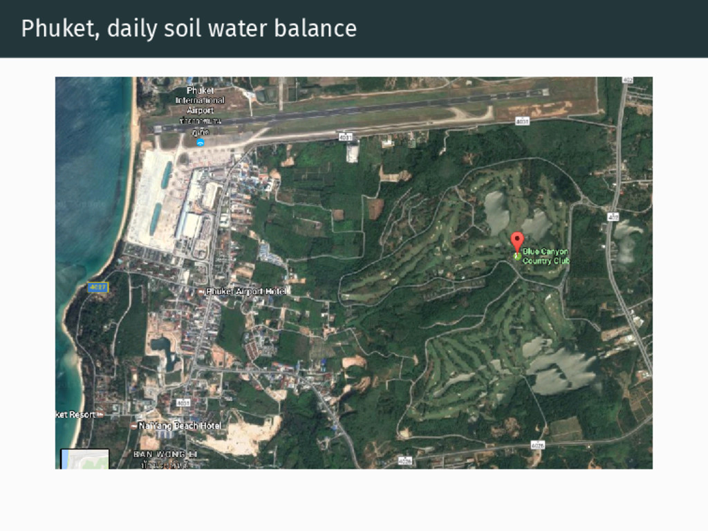 Phuket, daily soil water balance