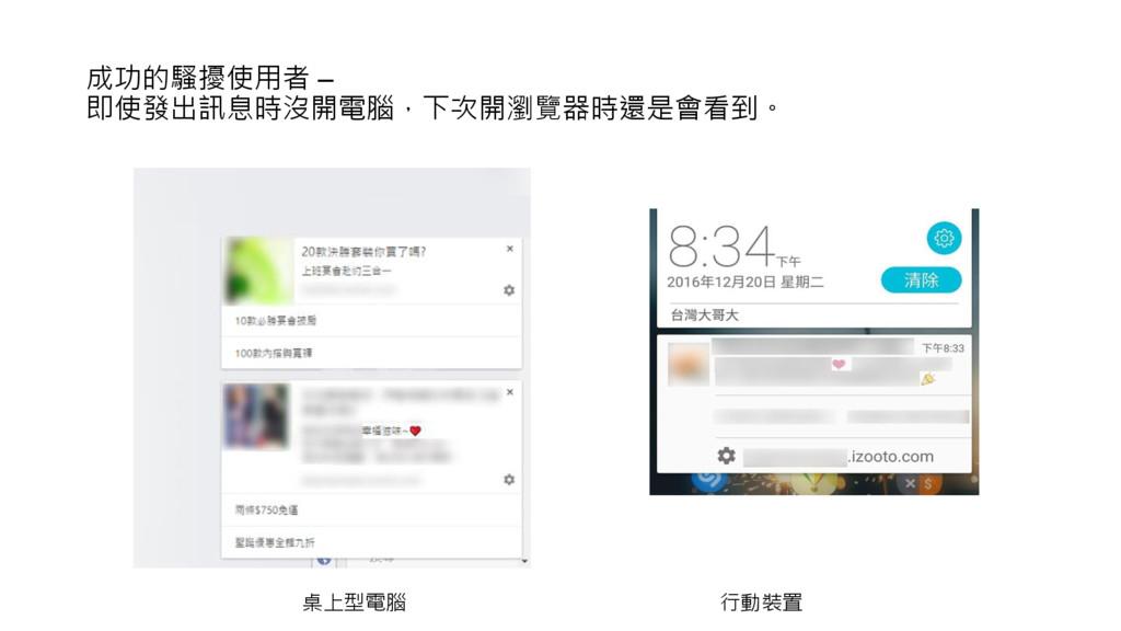成功的騷擾使用者 – 即使發出訊息時沒開電腦,下次開瀏覽器時還是會看到。 桌上型電腦 行動裝置