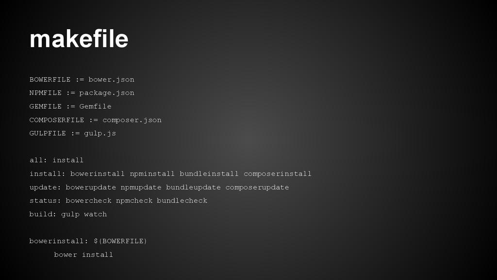 BOWERFILE := bower.json NPMFILE := package.json...