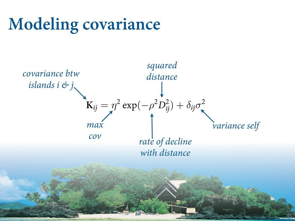 Modeling covariance covariance btw islands i & ...