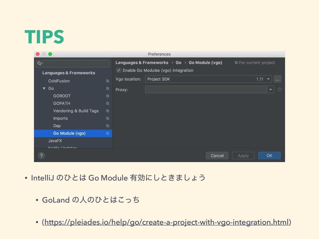 TIPS • IntelliJ ͷͻͱ Go Module ༗ޮʹ͠ͱ͖·͠ΐ͏ • GoL...