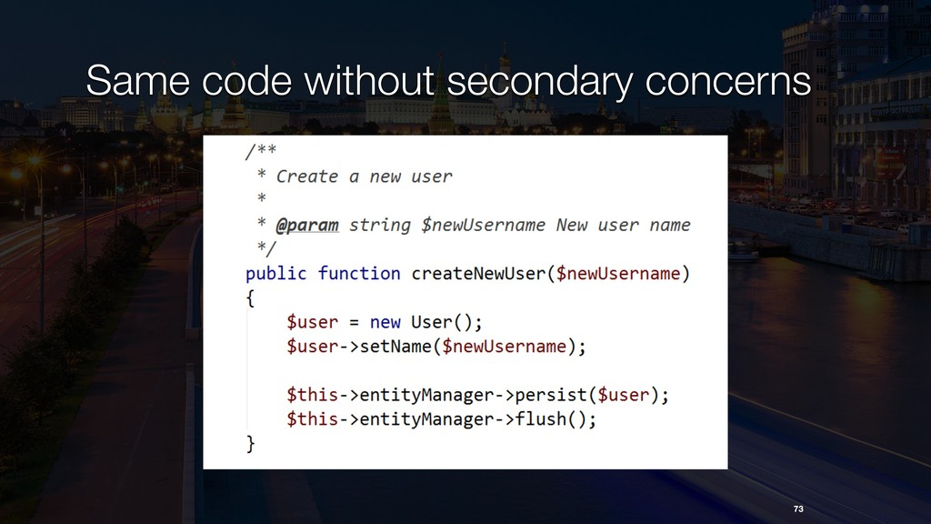 Same code without secondary concerns 73