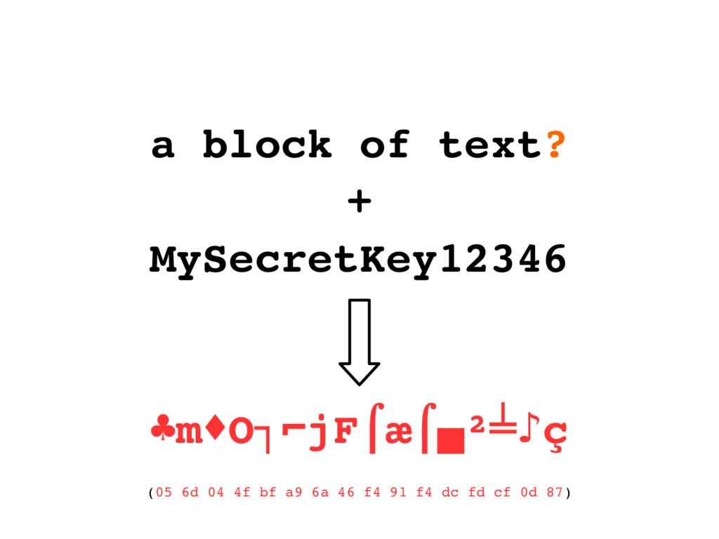 a block of text? + MySecretKey12346 ♣m O jF æ ²...