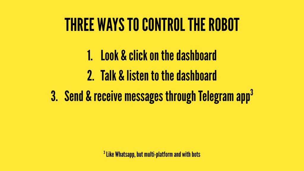 THREE WAYS TO CONTROL THE ROBOT 1. Look & click...