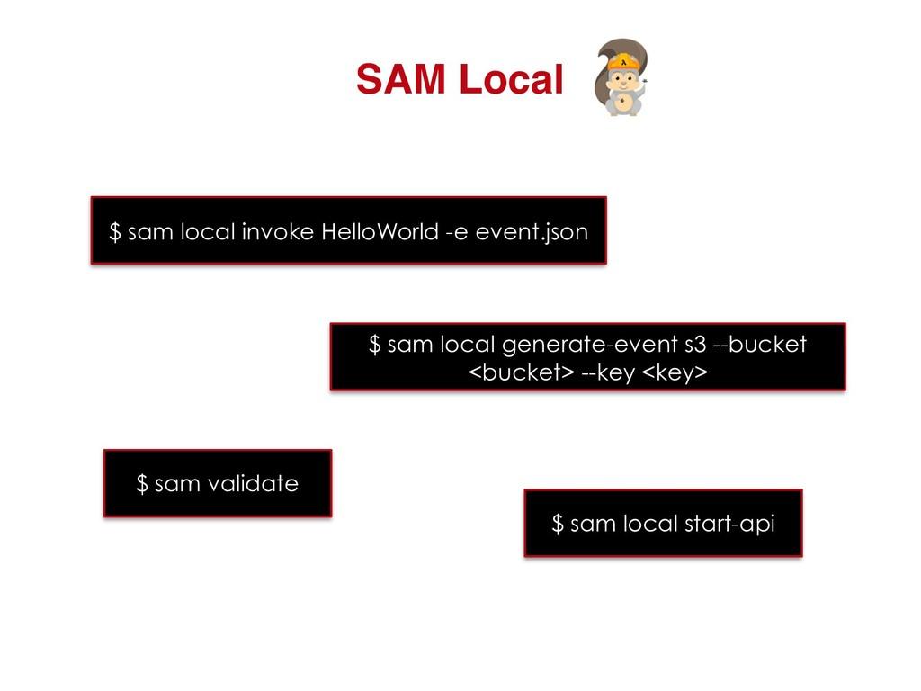 SAM Local $ sam local invoke HelloWorld -e even...