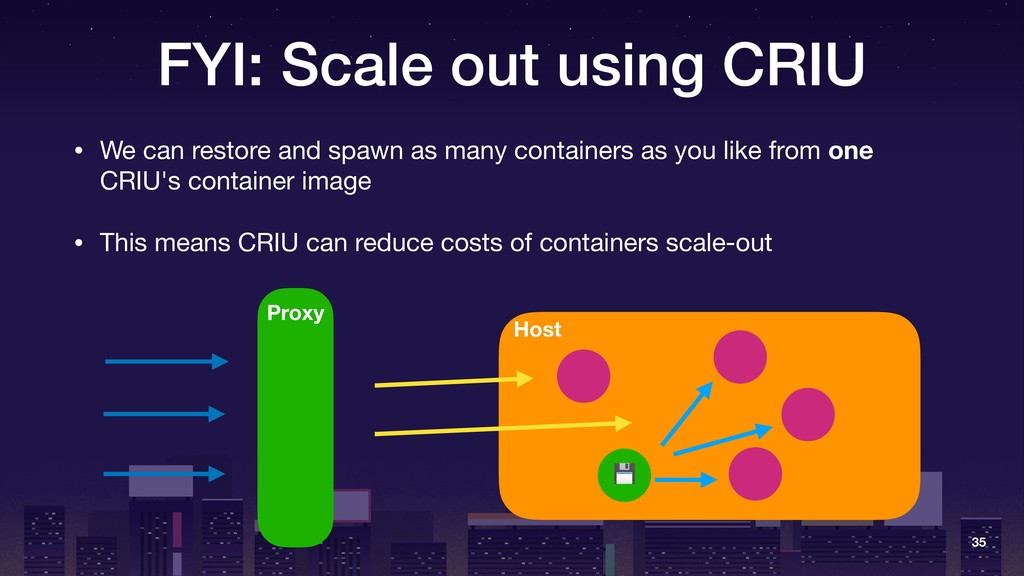 FYI: Scale out using CRIU • We can restore and ...