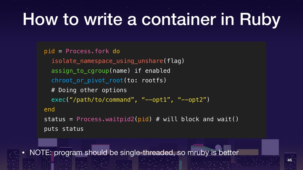 How to write a container in Ruby pid = Process....