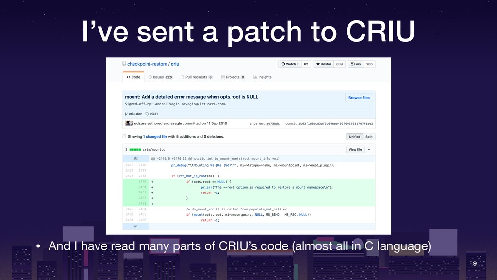 I've sent a patch to CRIU • And I have read man...