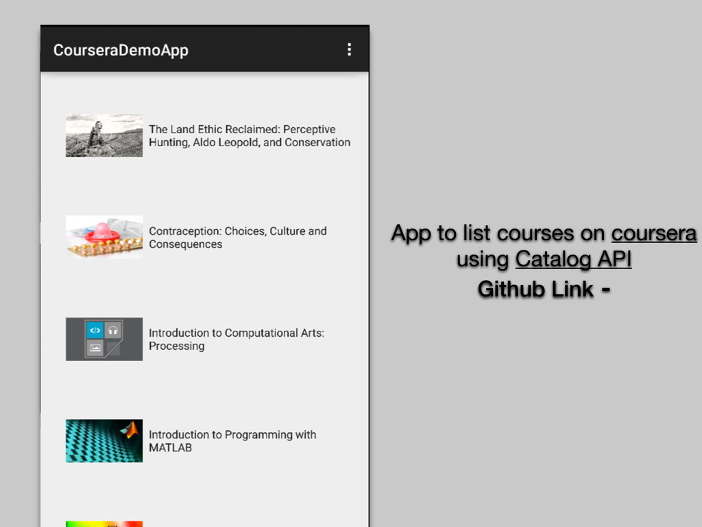 App to list courses on coursera using Catalog A...