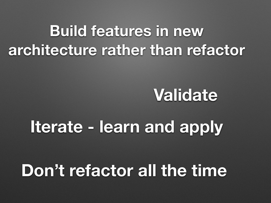 Build features in new architecture rather than ...
