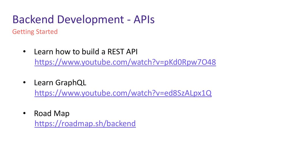 Getting Started Backend Development - APIs • Le...