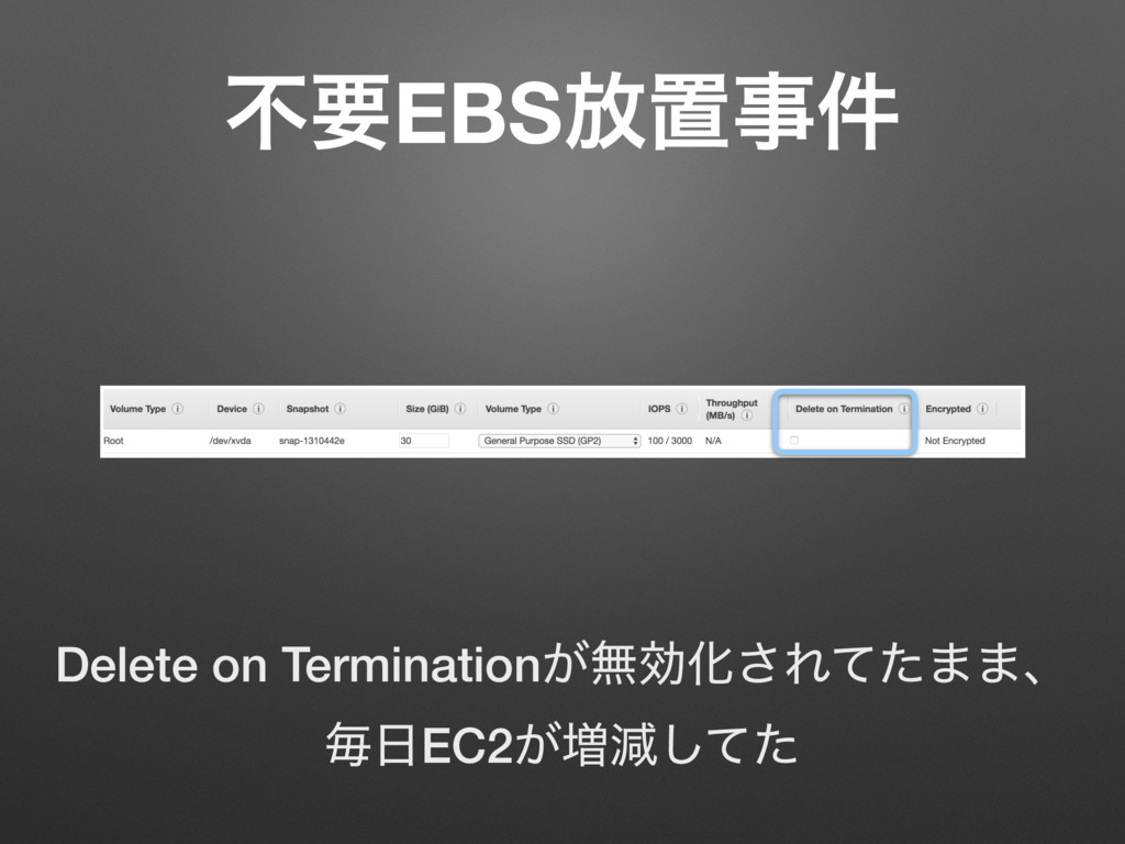 ෆཁEBS์ஔࣄ݅ Delete on Termination͕ແޮԽ͞Εͯͨ··ɺ ຖ೔EC...