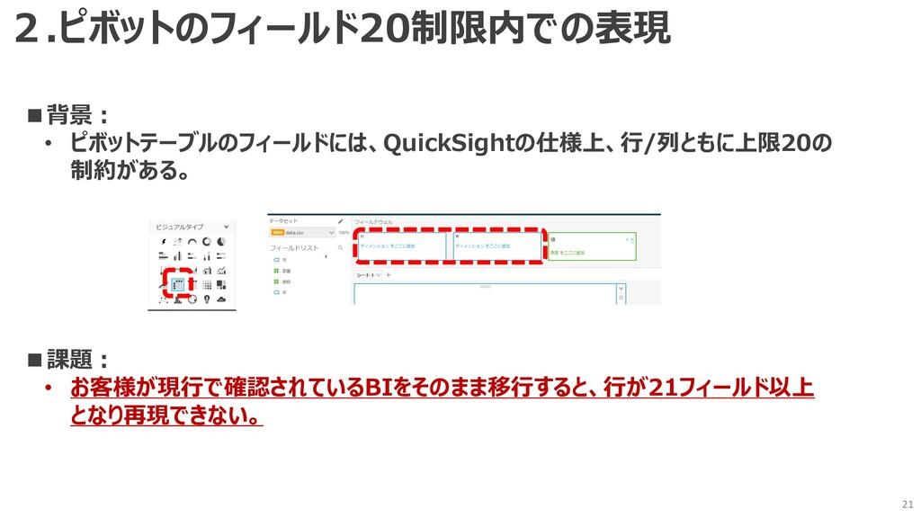 21 ■背景︓ • ピボットテーブルのフィールドには、QuickSightの仕様上、⾏/列とも...