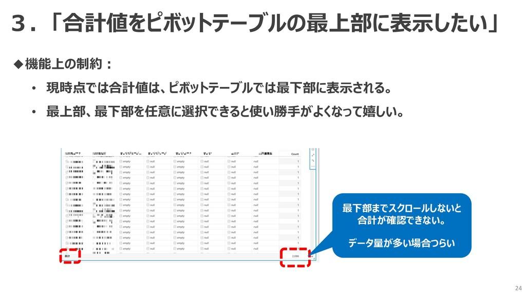 24 ◆機能上の制約︓ • 現時点では合計値は、ピボットテーブルでは最下部に表⽰される。 • ...
