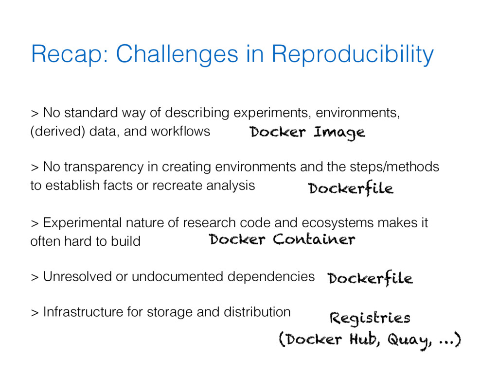 Recap: Challenges in Reproducibility > No stand...