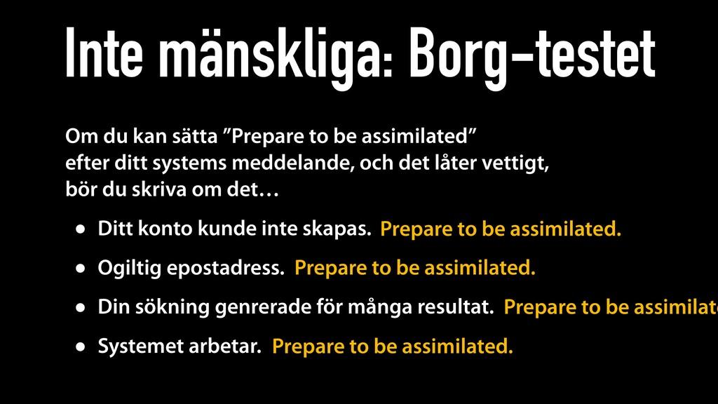 """Inte mänskliga: Borg-testet Om du kan sätta """"Pr..."""