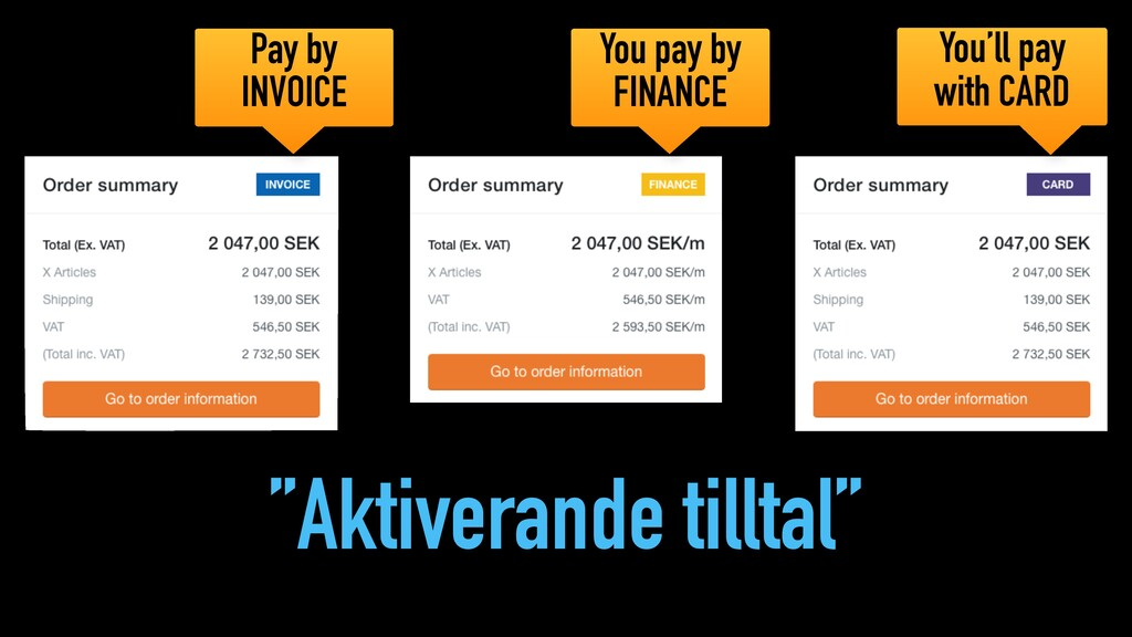 """Aktiverande tilltal"" You pay by