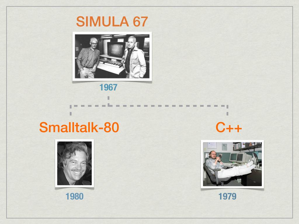 SIMULA 67 1967 C++ 1979 Smalltalk-80 1980