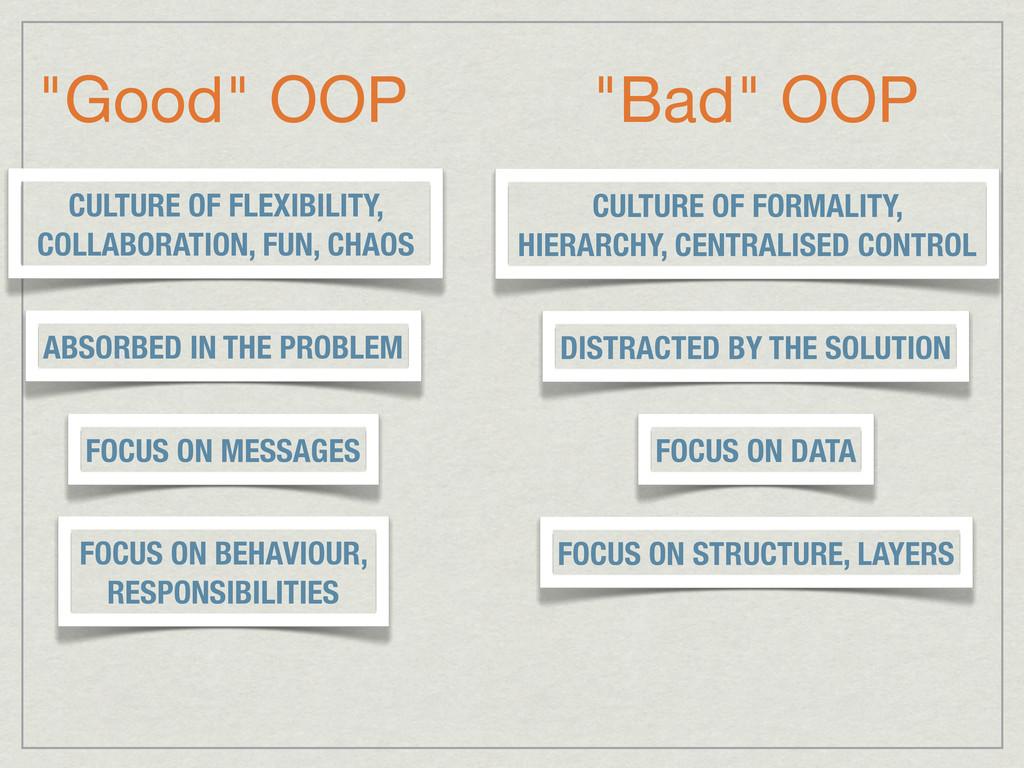 """""""Good"""" OOP """"Bad"""" OOP FOCUS ON DATA FOCUS ON MES..."""