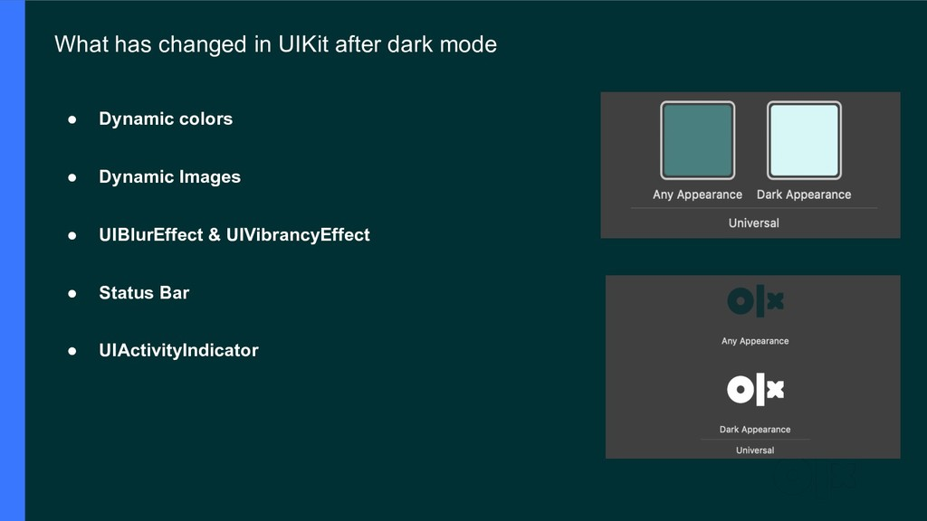 What has changed in UIKit after dark mode ● Dyn...
