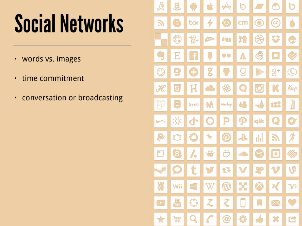 Social Networks • words vs. images • time commi...