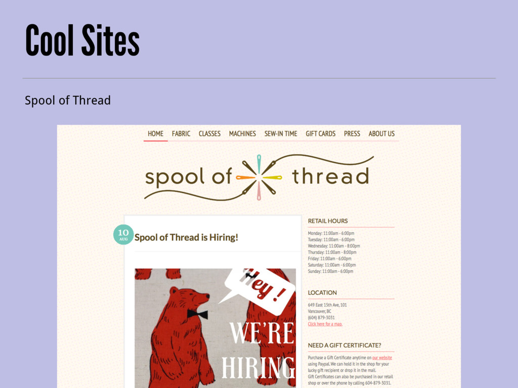 Cool Sites Spool of Thread
