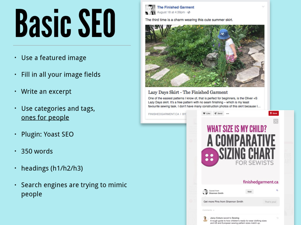 Basic SEO • Use a featured image • Fill in all ...
