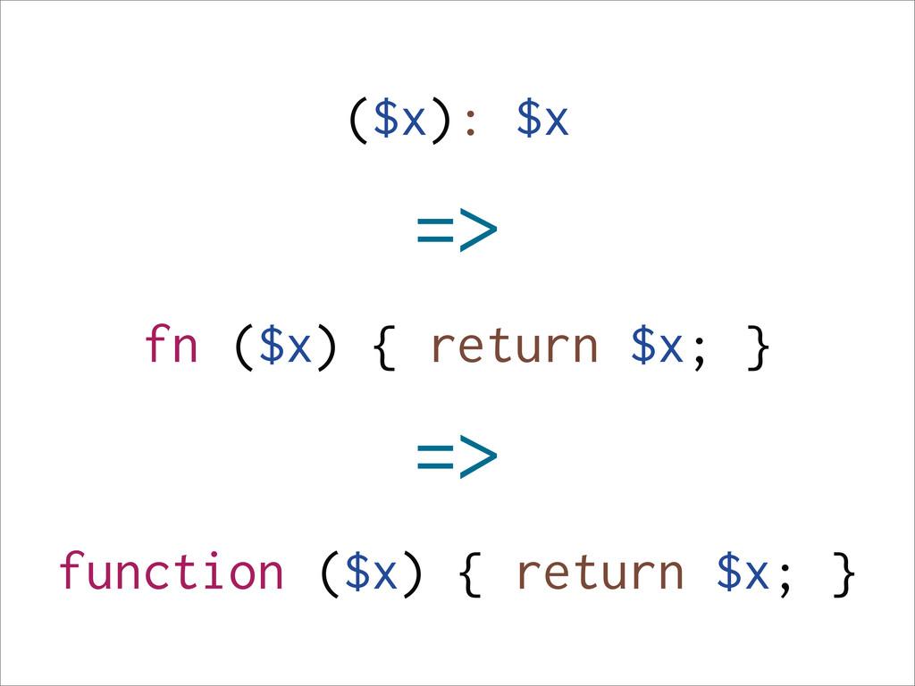 ($x): $x => fn ($x) { return $x; } => function ...