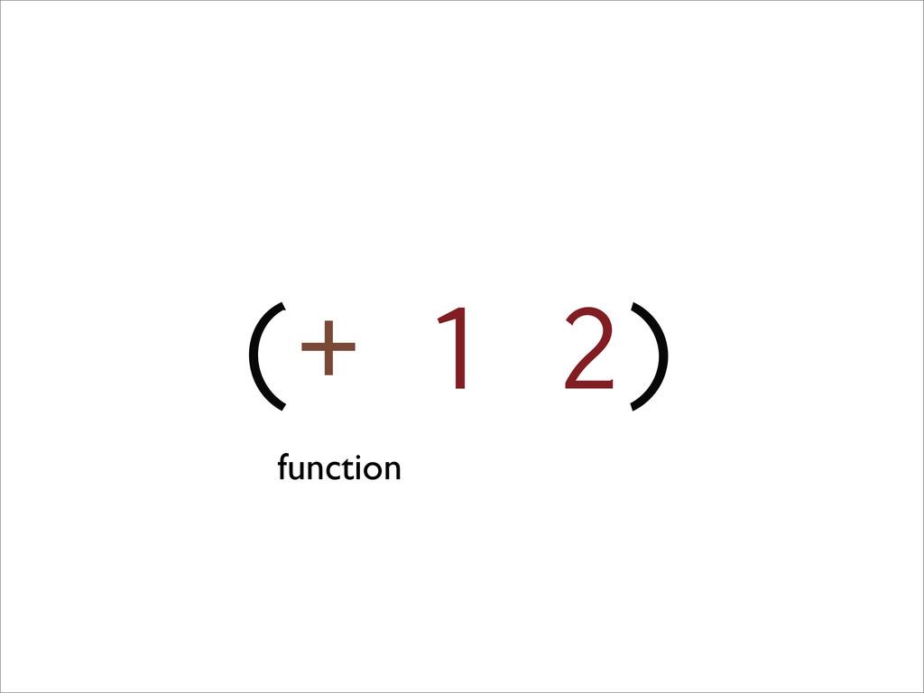 (+ 1 2) function