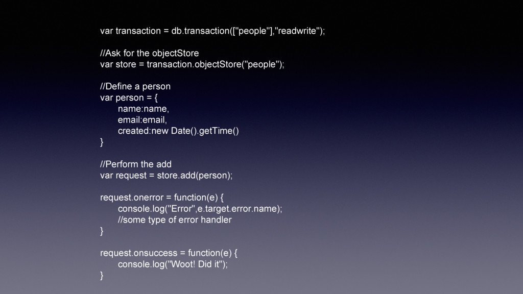"var transaction = db.transaction([""people""],""re..."