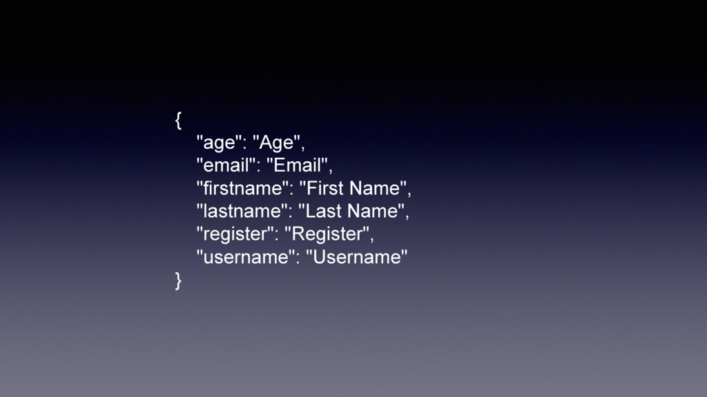 """{ """"age"""": """"Age"""", """"email"""": """"Email"""", """"firstname"""": ..."""