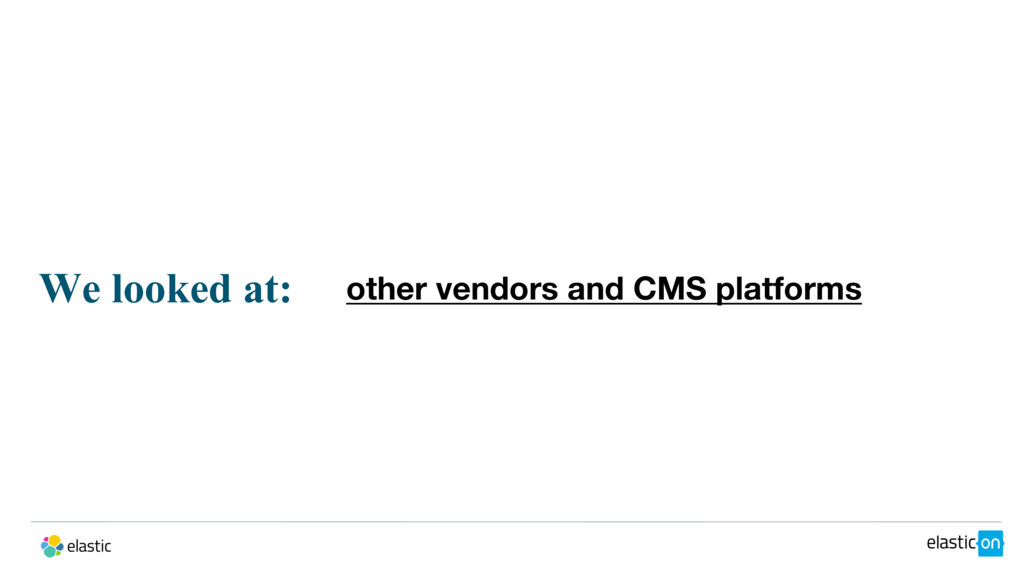 We looked at: other vendors and CMS platforms
