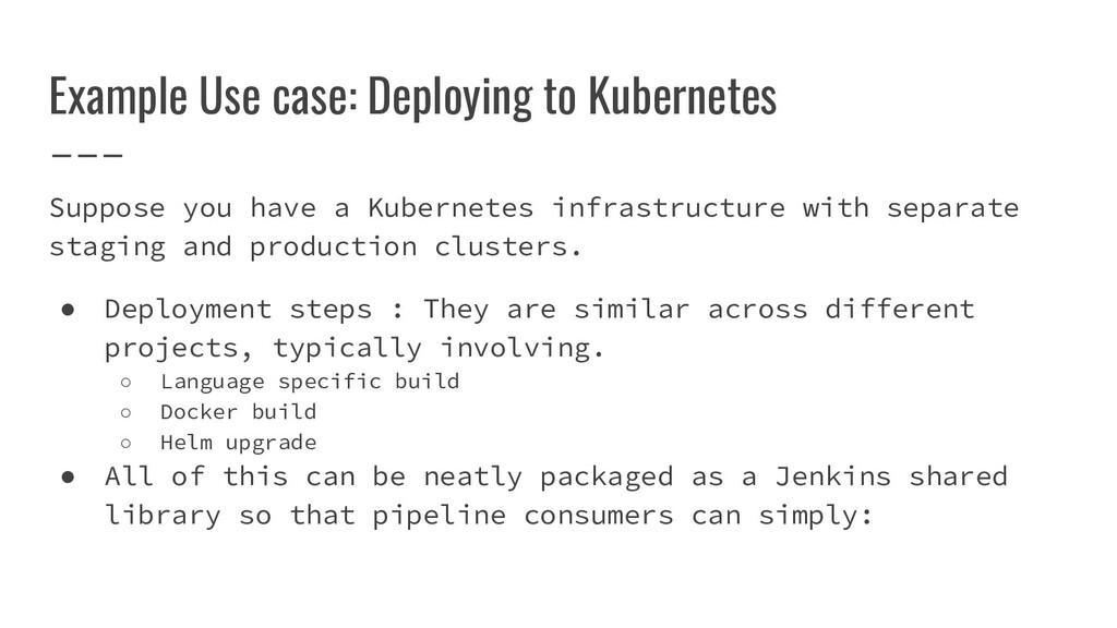 Example Use case: Deploying to Kubernetes Suppo...