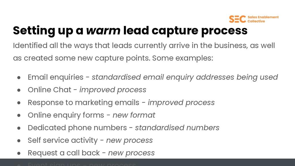 Setting up a warm lead capture process Identifi...