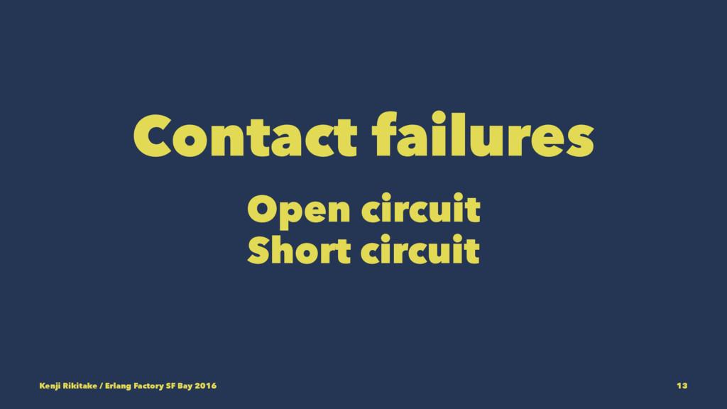 Contact failures Open circuit Short circuit Ken...