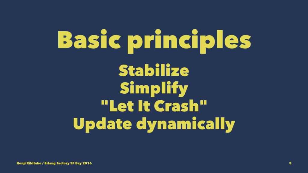 """Basic principles Stabilize Simplify """"Let It Cra..."""