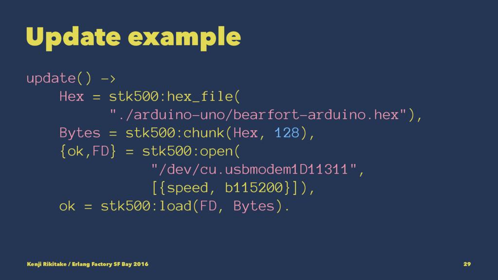 Update example update() -> Hex = stk500:hex_fil...