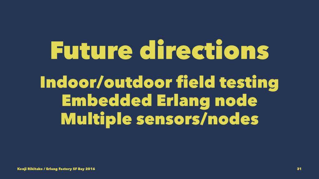 Future directions Indoor/outdoor field testing ...