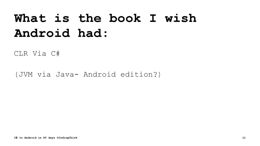 What is the book I wish Android had: CLR Via C#...