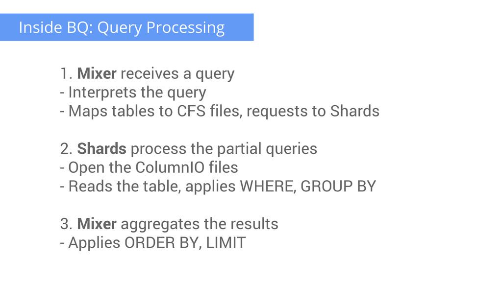 Inside BQ: Query Processing 1. Mixer receives a...