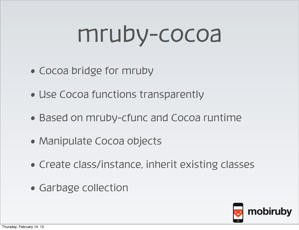 mruby-cocoa • Cocoa bridge for mruby • Use Coco...