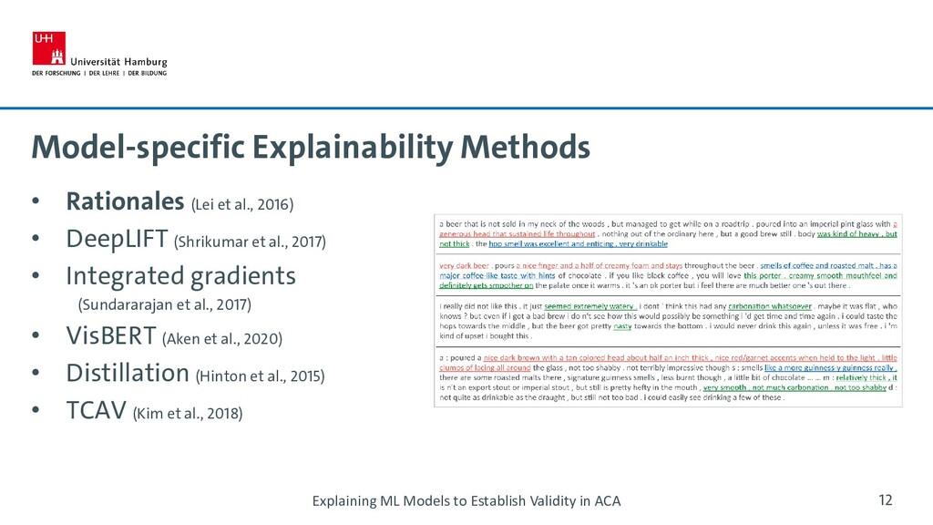 Model-specific Explainability Methods • Rationa...