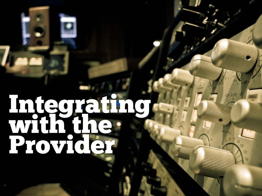 Integrating with the Provider