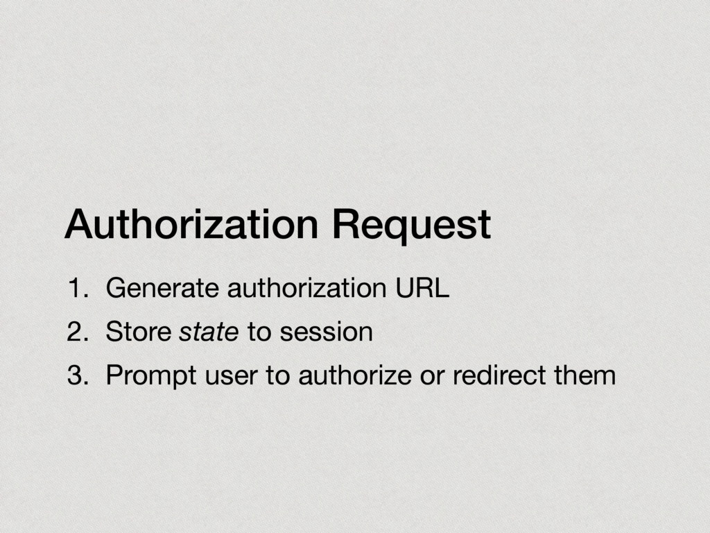 Authorization Request 1. Generate authorization...