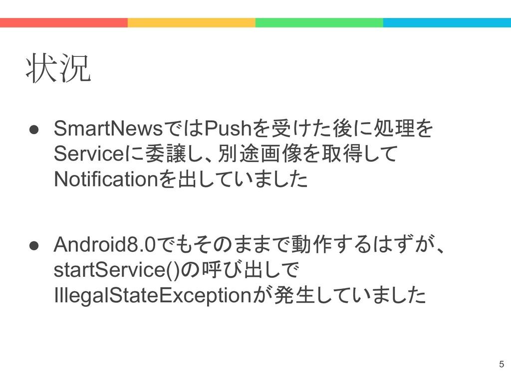 状況 ● SmartNewsではPushを受けた後に処理を Serviceに委譲し、別途画像を...