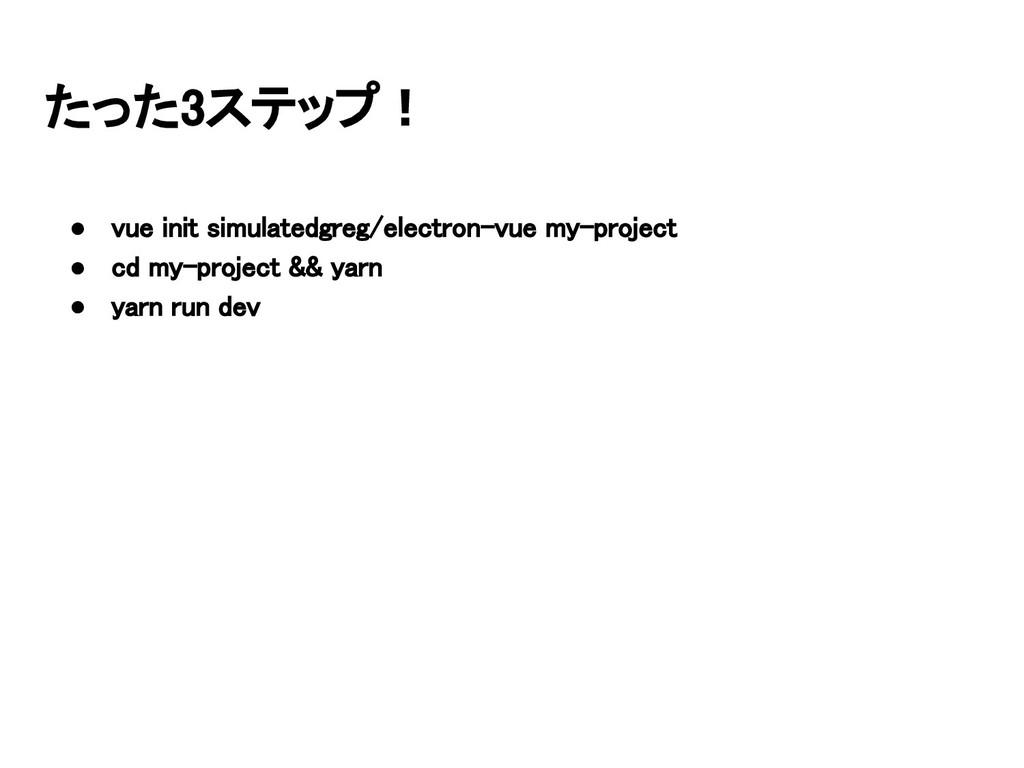 たった3ステップ! ● vue init simulatedgreg/electron-vue...