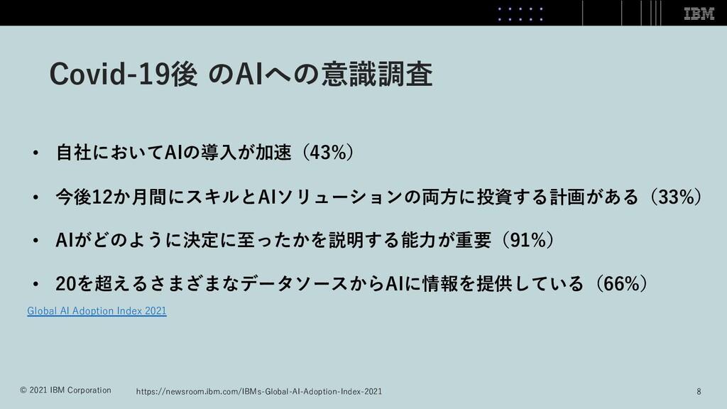 Covid-19後 のAIへの意識調査 • ⾃社においてAIの導⼊が加速(43%) • 今後1...